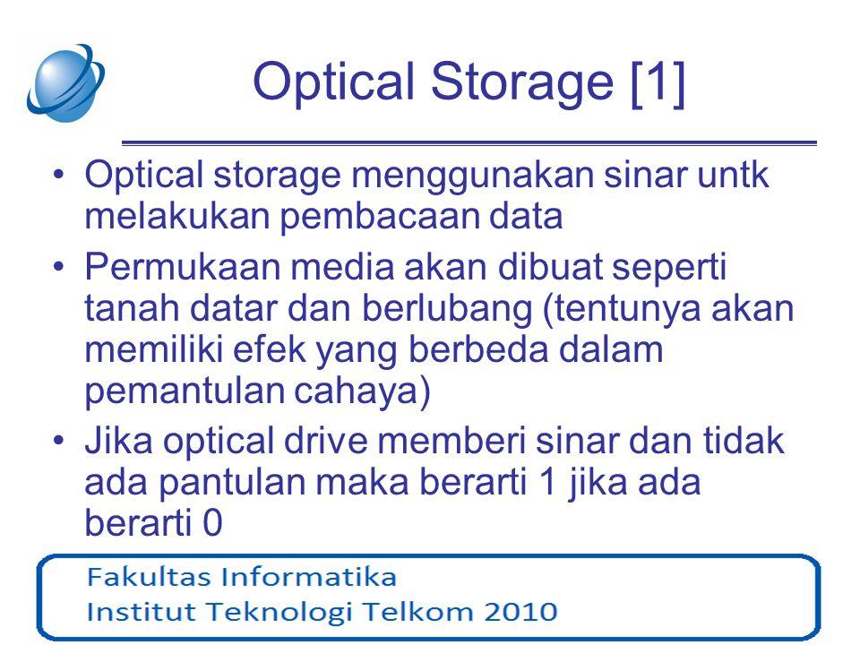 Optical Storage [1] Optical storage menggunakan sinar untk melakukan pembacaan data.
